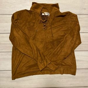 Vintage Liz Claiborne suede lace up blouse